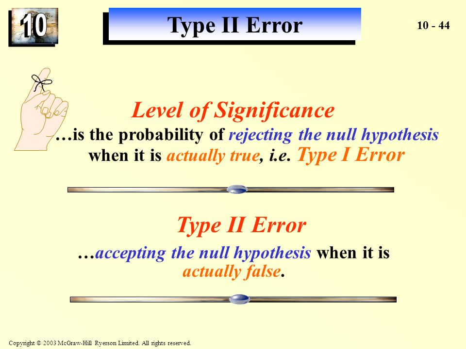 …accepting the null hypothesis when it is actually false.