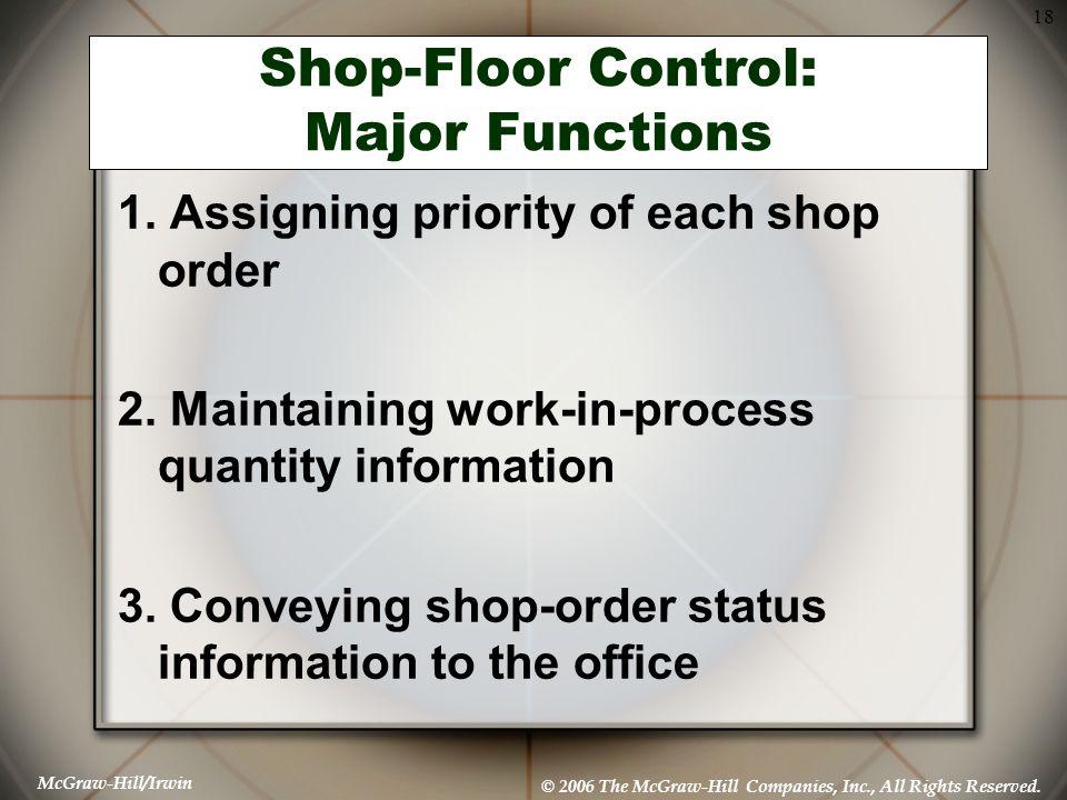 Shop-Floor Control: Major Functions