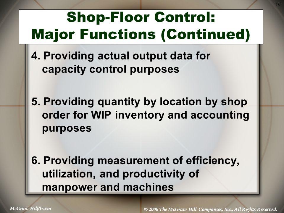 Shop-Floor Control: Major Functions (Continued)