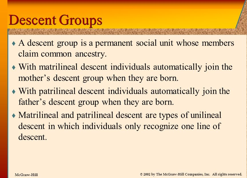 Descent Groups A descent group is a permanent social unit whose members claim common ancestry.