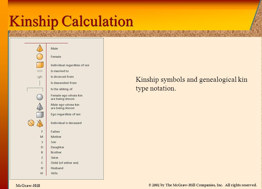 Kinship Calculation Kinship symbols and genealogical kin type notation.