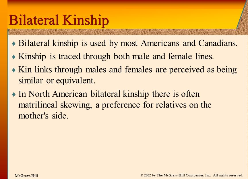 Bilateral Kinship Bilateral kinship is used by most Americans and Canadians. Kinship is traced through both male and female lines.