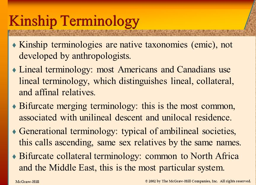 Kinship Terminology Kinship terminologies are native taxonomies (emic), not developed by anthropologists.