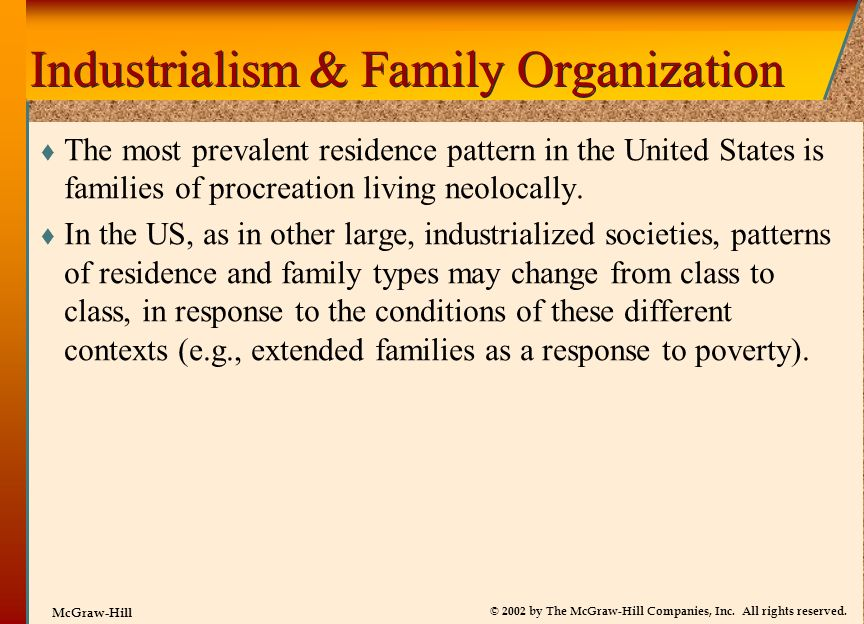 Industrialism & Family Organization