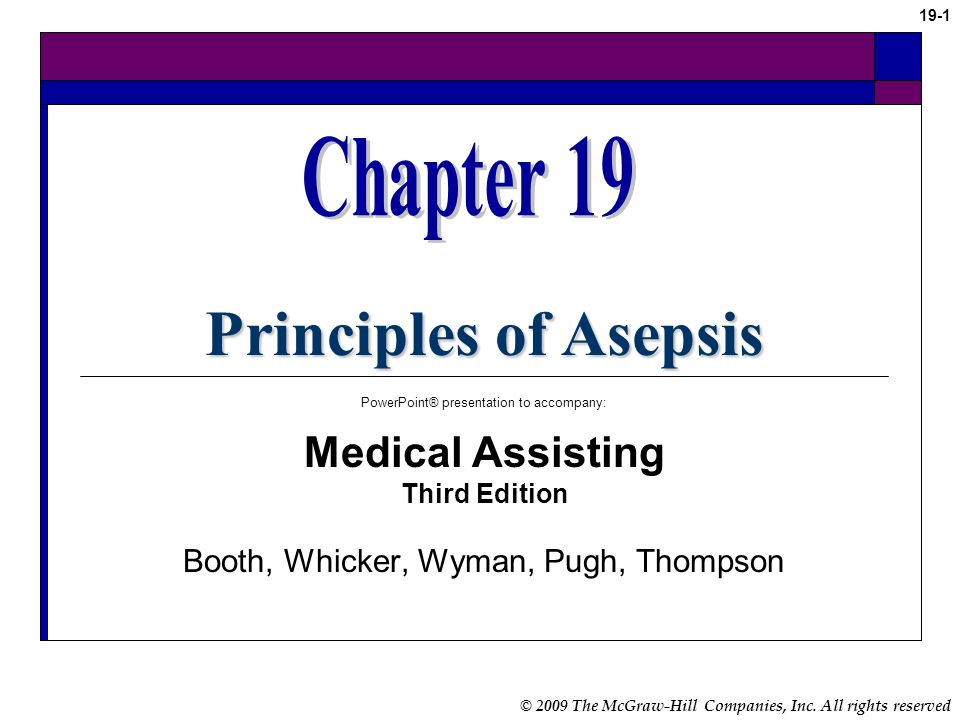 Principles of Asepsis Chapter 19 Medical Assisting