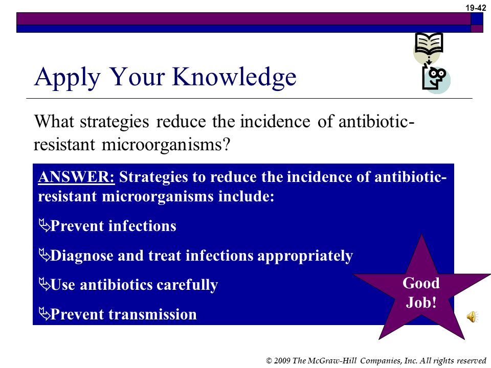Apply Your Knowledge What strategies reduce the incidence of antibiotic-resistant microorganisms