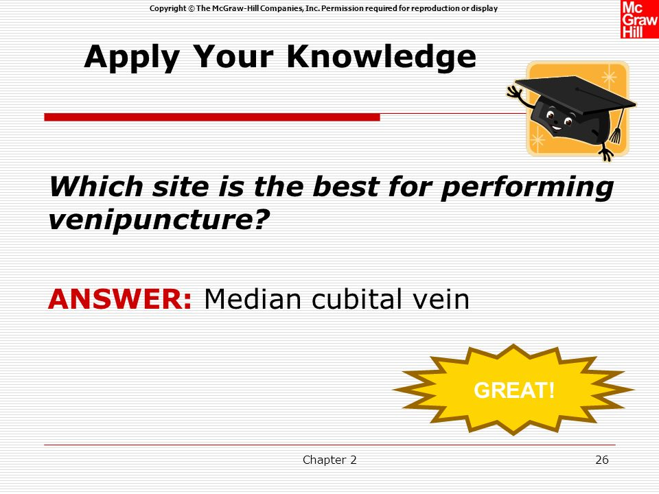 Apply Your Knowledge Which site is the best for performing venipuncture ANSWER: Median cubital vein.