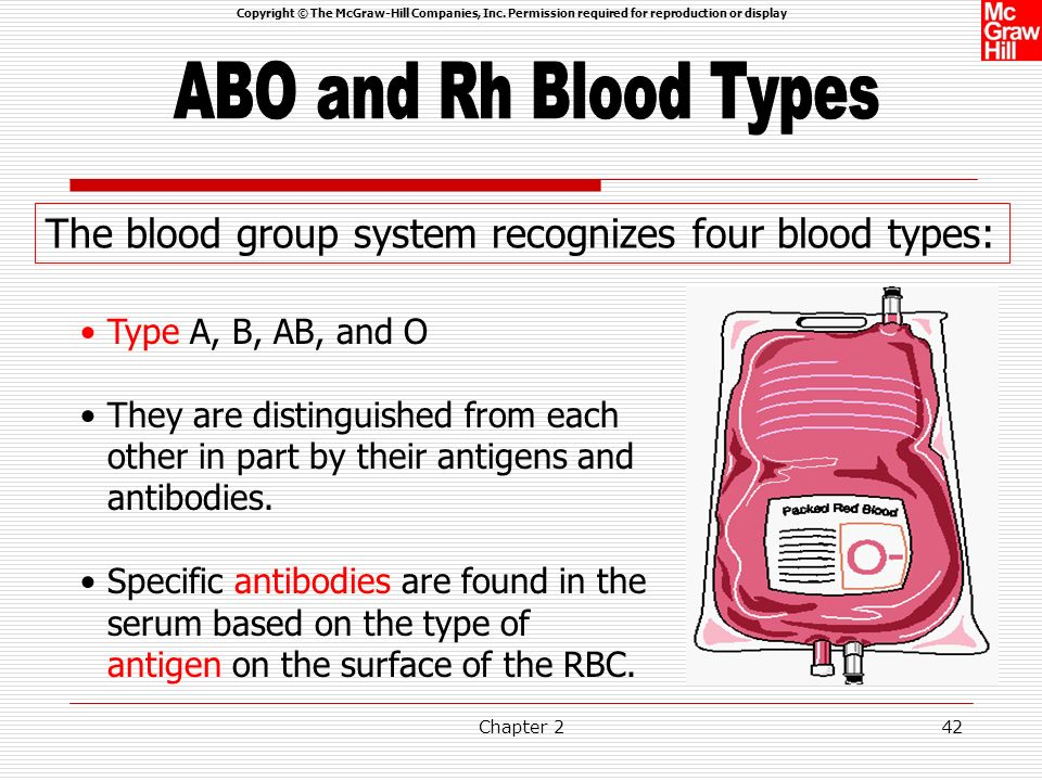 ABO and Rh Blood Types The blood group system recognizes four blood types: Type A, B, AB, and O.