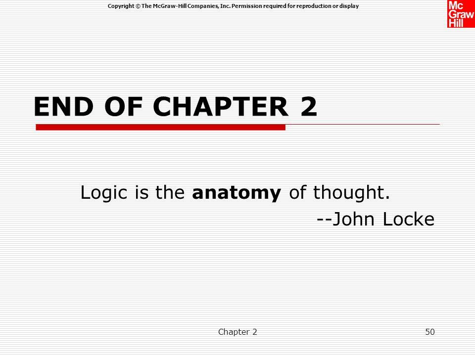 Logic is the anatomy of thought. --John Locke