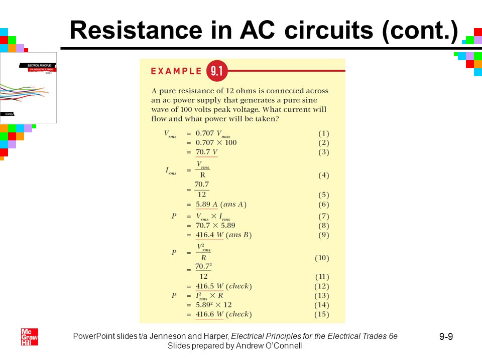 Resistance in AC circuits (cont.)
