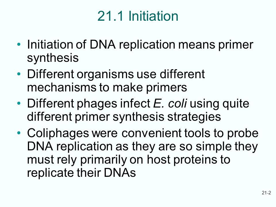 21.1 Initiation Initiation of DNA replication means primer synthesis