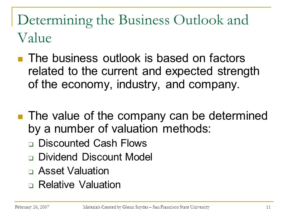 Determining the Business Outlook and Value