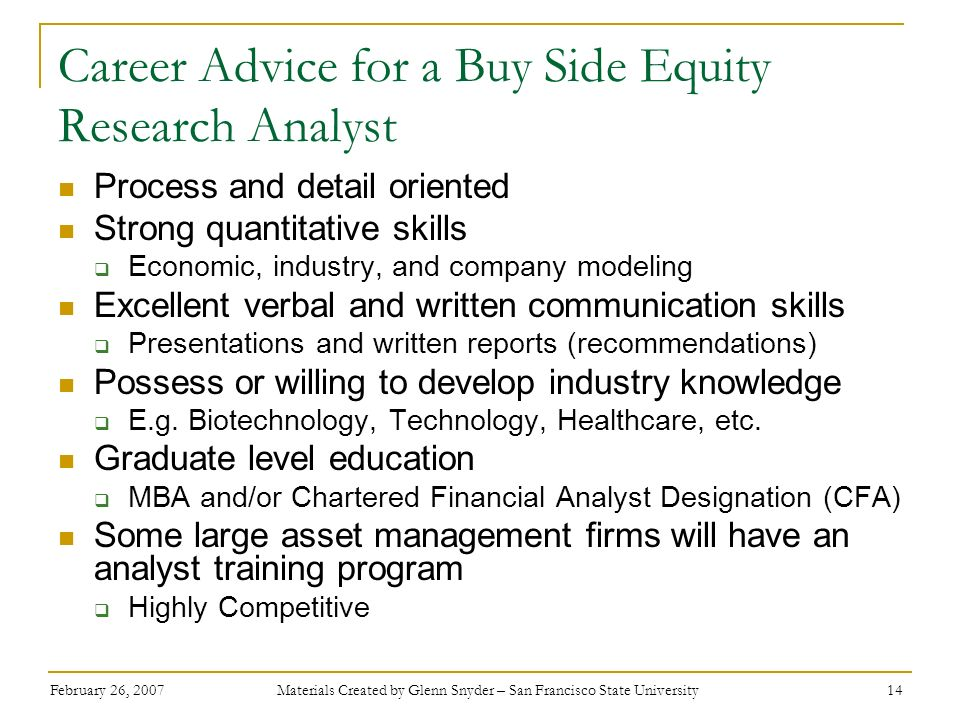 Career Advice for a Buy Side Equity Research Analyst