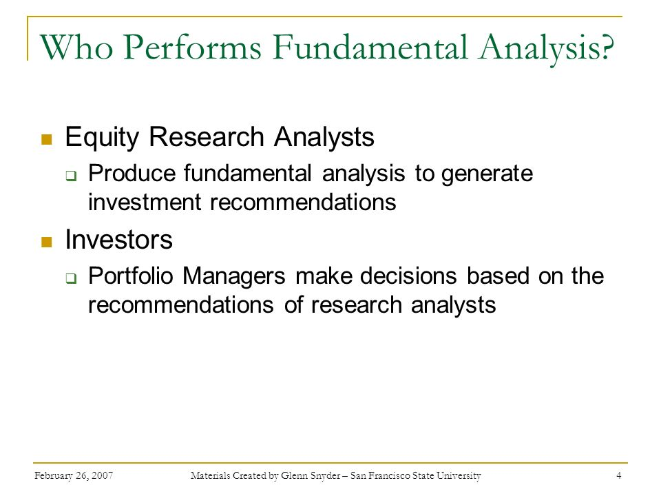 Who Performs Fundamental Analysis