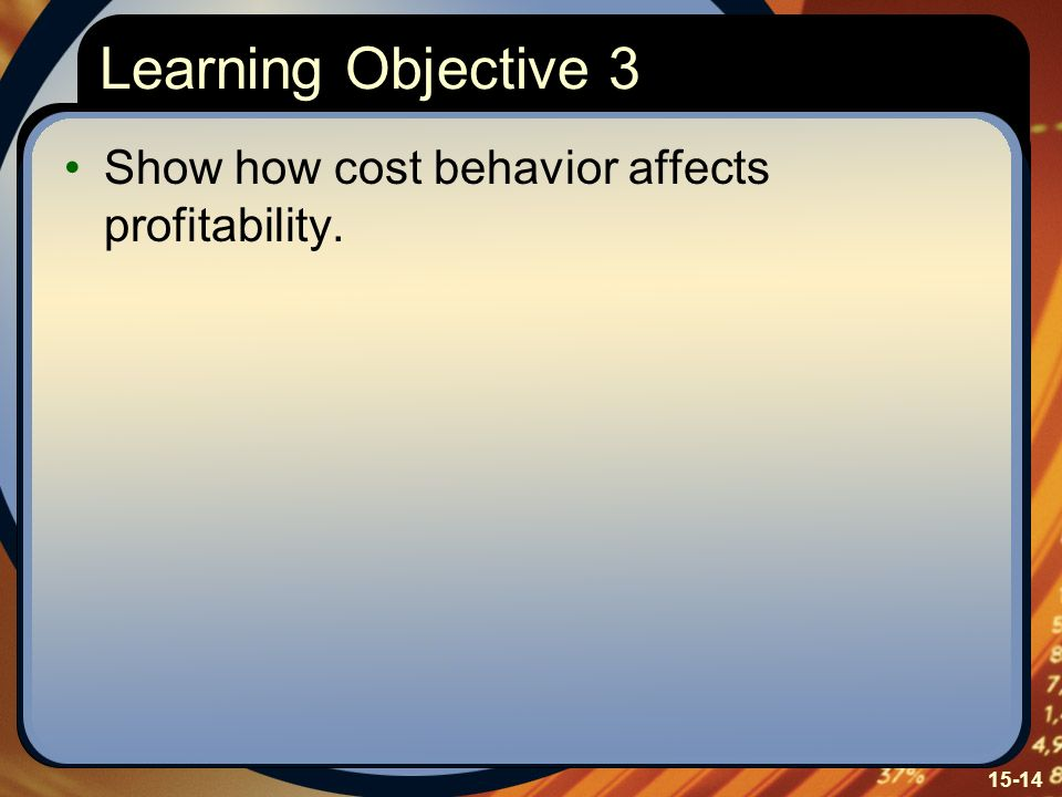 Learning Objective 3 Show how cost behavior affects profitability.