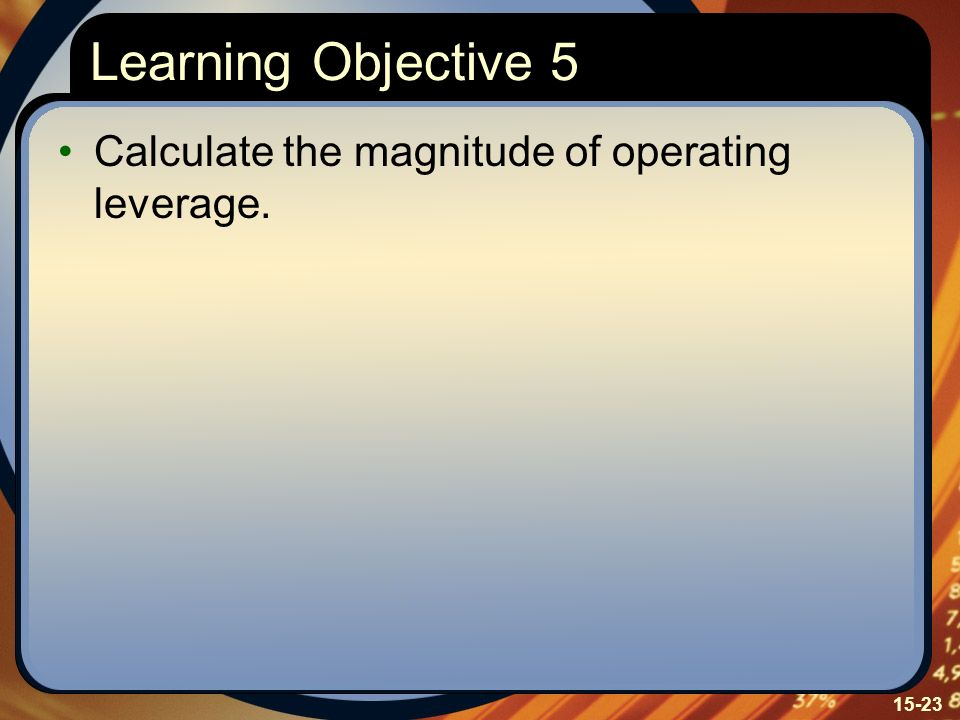 Learning Objective 5 Calculate the magnitude of operating leverage.