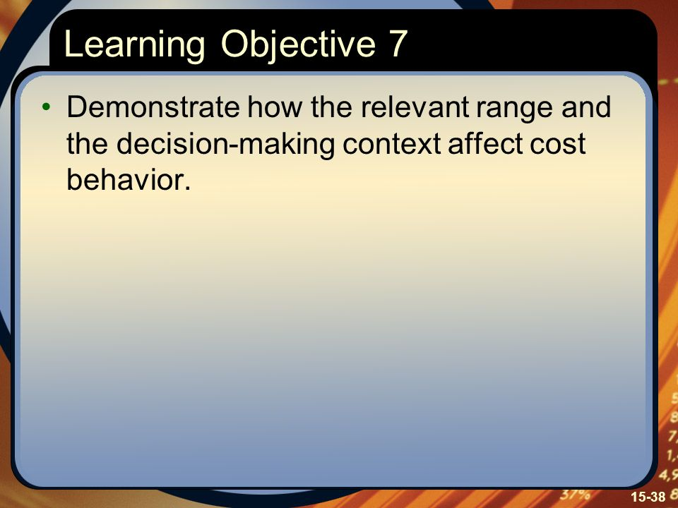Learning Objective 7 Demonstrate how the relevant range and the decision-making context affect cost behavior.