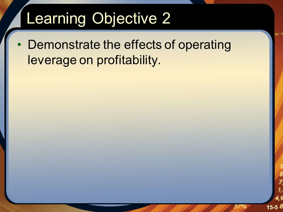 Learning Objective 2 Demonstrate the effects of operating leverage on profitability. Learning Objective Two: