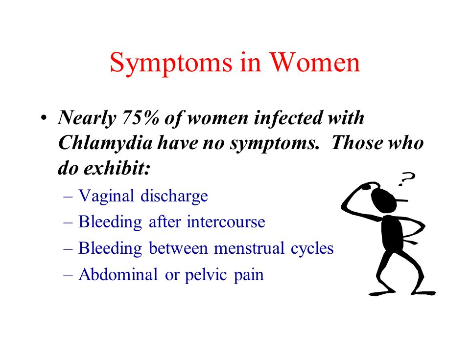 Symptoms in Women Nearly 75% of women infected with Chlamydia have no symptoms. Those who do exhibit: