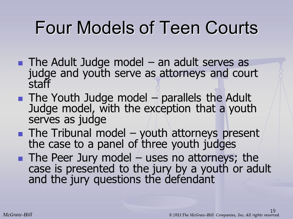 Four Models of Teen Courts