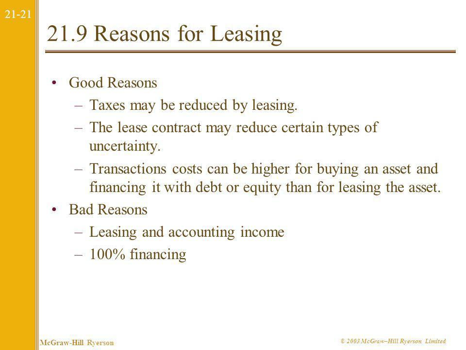 21.9 Reasons for Leasing Good Reasons Taxes may be reduced by leasing.