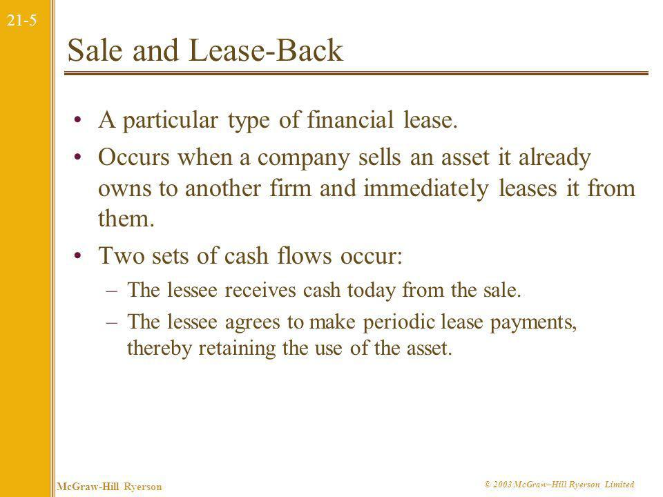 Sale and Lease-Back A particular type of financial lease.