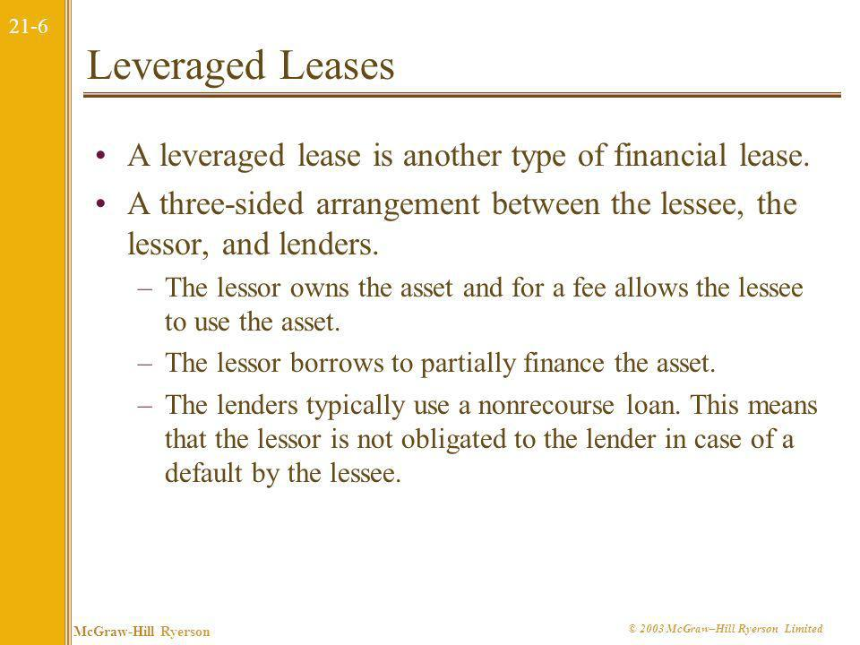 Leveraged Leases A leveraged lease is another type of financial lease.