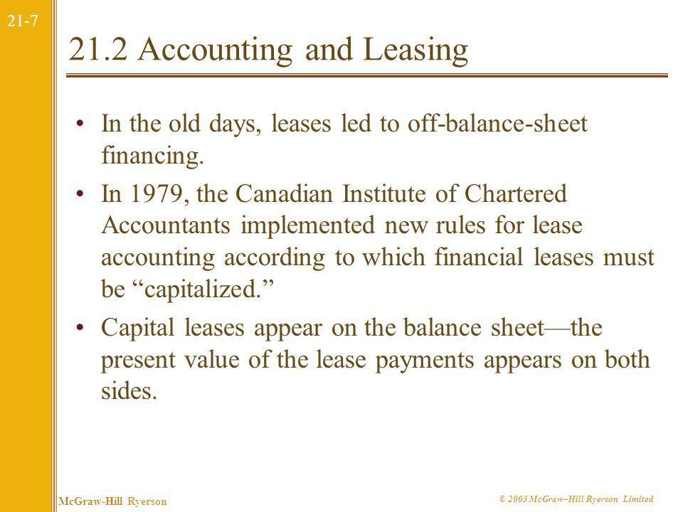 21.2 Accounting and Leasing