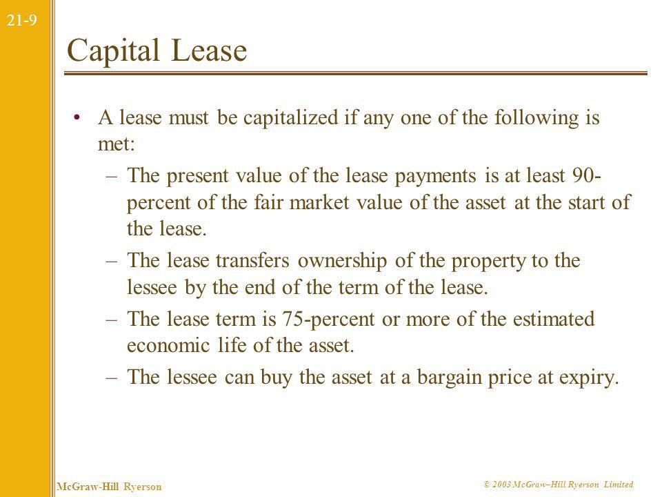 Capital Lease A lease must be capitalized if any one of the following is met: