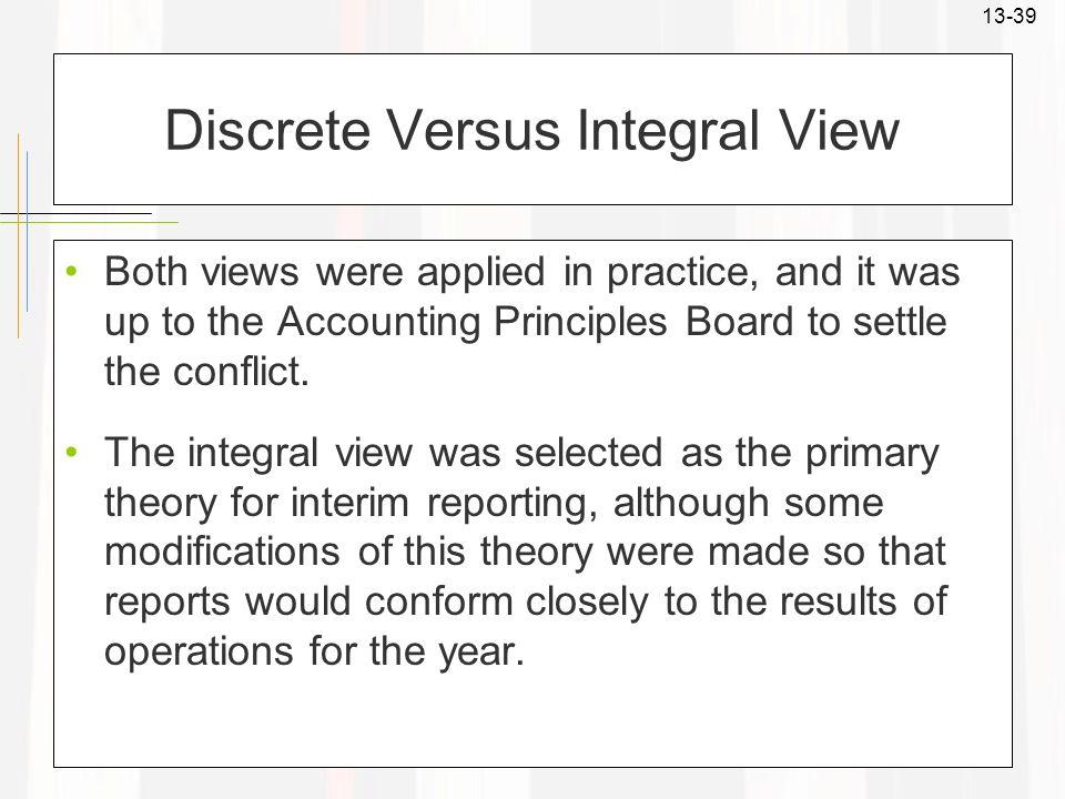 Discrete Versus Integral View