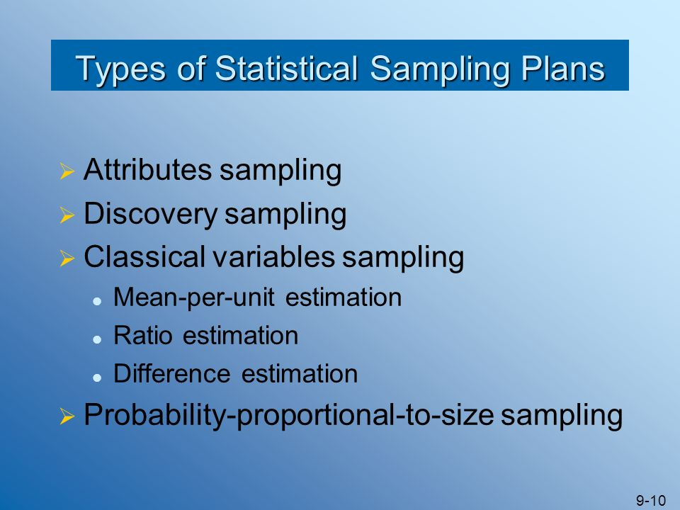 Types of Statistical Sampling Plans