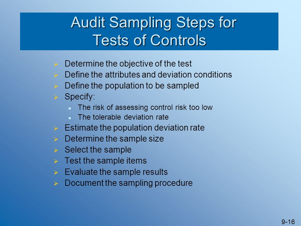 Audit Sampling Steps for Tests of Controls