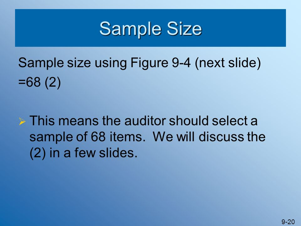 Sample Size Sample size using Figure 9-4 (next slide) =68 (2)