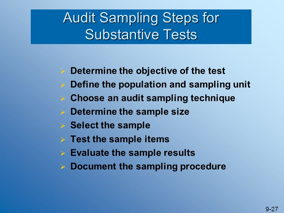 Audit Sampling Steps for Substantive Tests