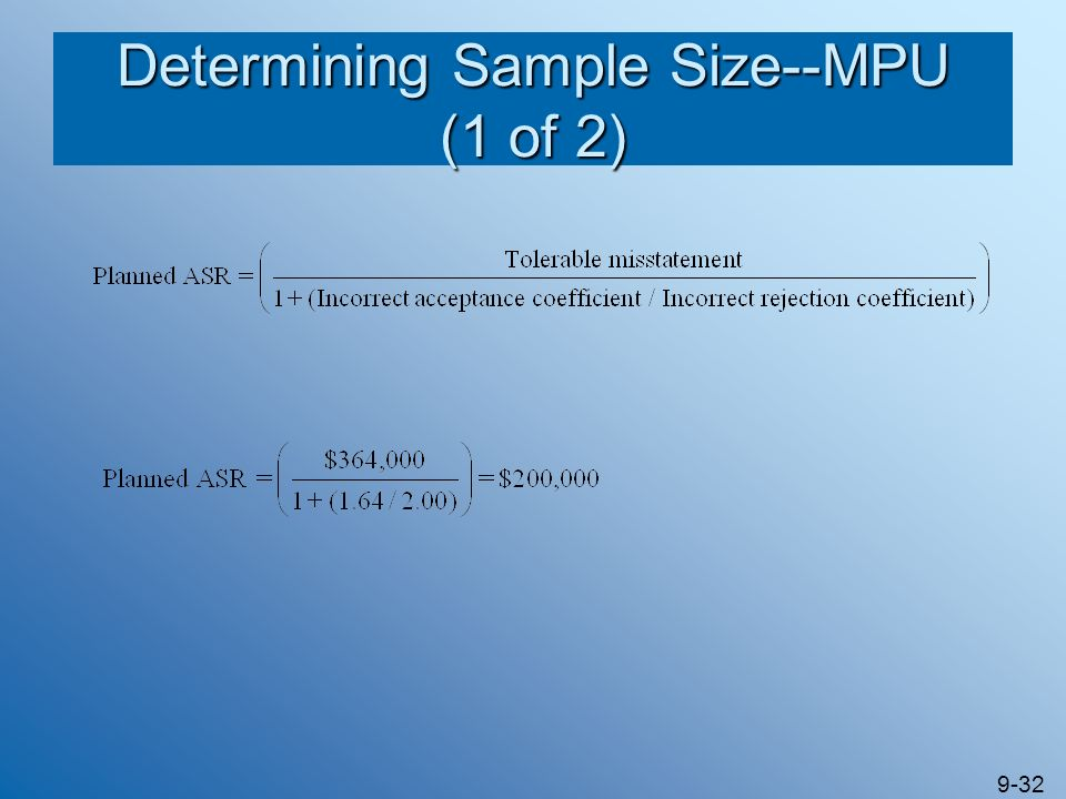 Determining Sample Size--MPU (1 of 2)