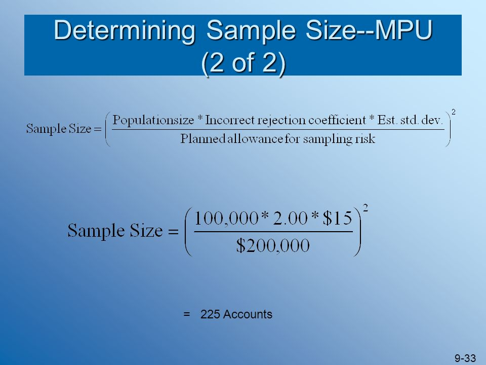 Determining Sample Size--MPU (2 of 2)