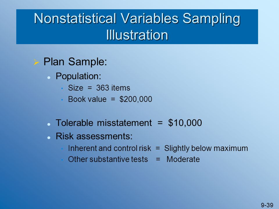 Nonstatistical Variables Sampling Illustration