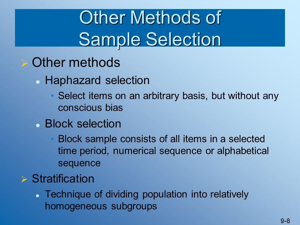 Other Methods of Sample Selection