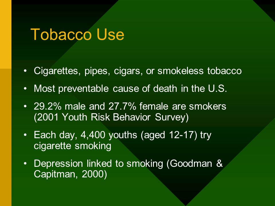 Tobacco Use Cigarettes, pipes, cigars, or smokeless tobacco