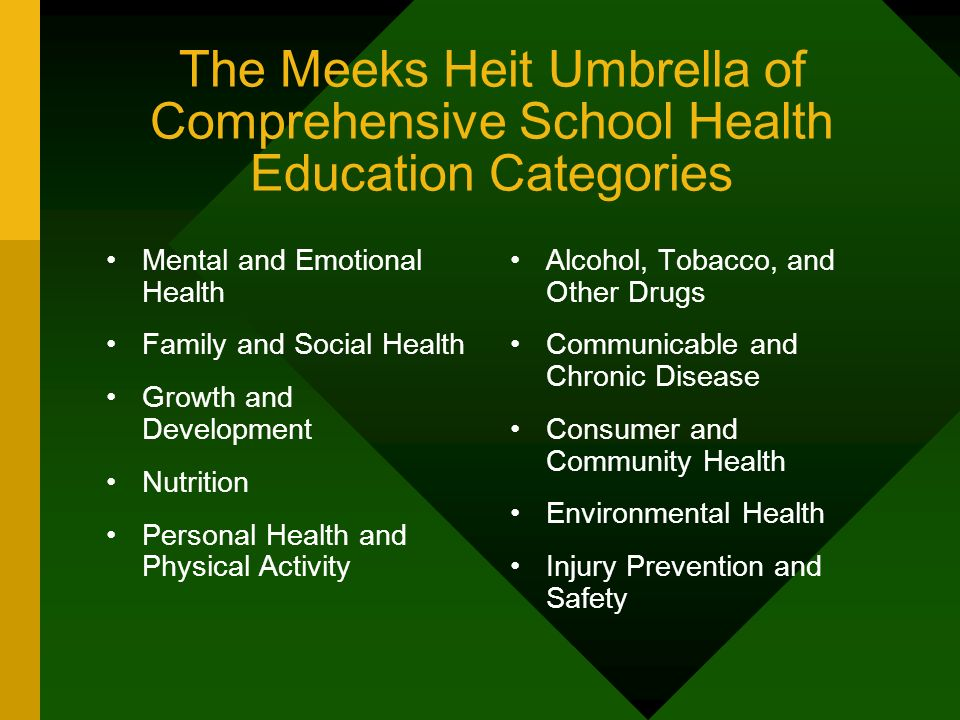 The Meeks Heit Umbrella of Comprehensive School Health Education Categories
