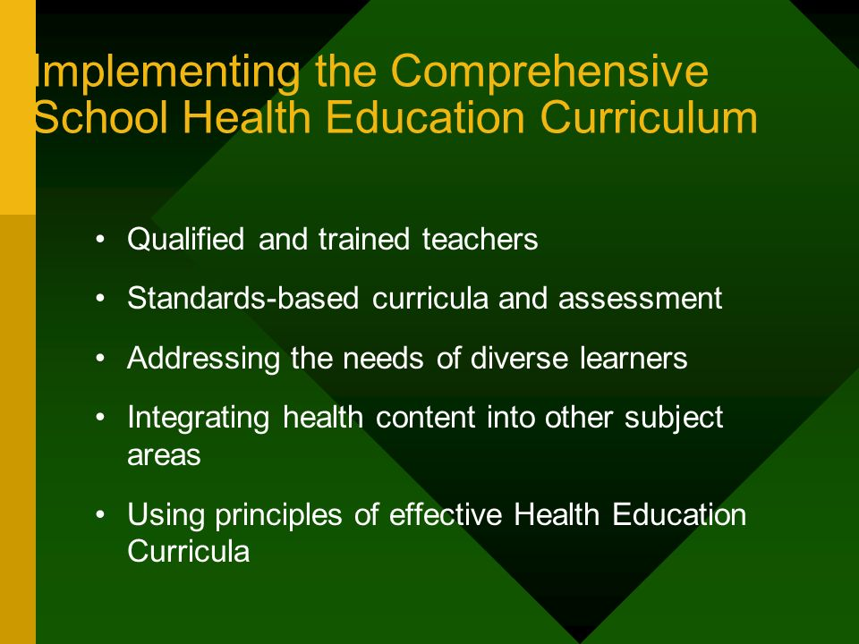 Implementing the Comprehensive School Health Education Curriculum