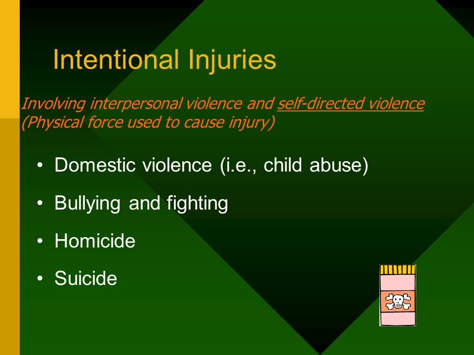 Intentional Injuries Domestic violence (i.e., child abuse)