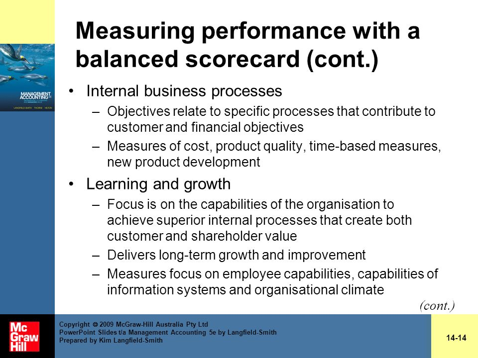 Measuring performance with a balanced scorecard (cont.)
