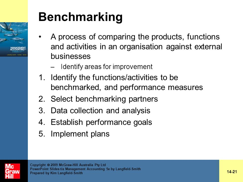 Benchmarking A process of comparing the products, functions and activities in an organisation against external businesses.