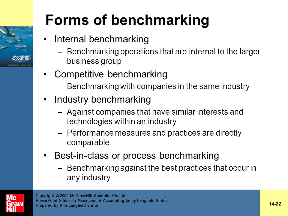 Forms of benchmarking Internal benchmarking Competitive benchmarking