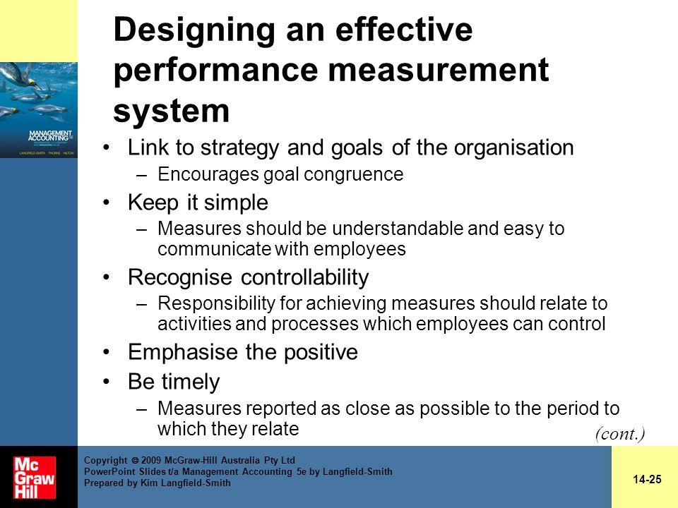 Designing an effective performance measurement system
