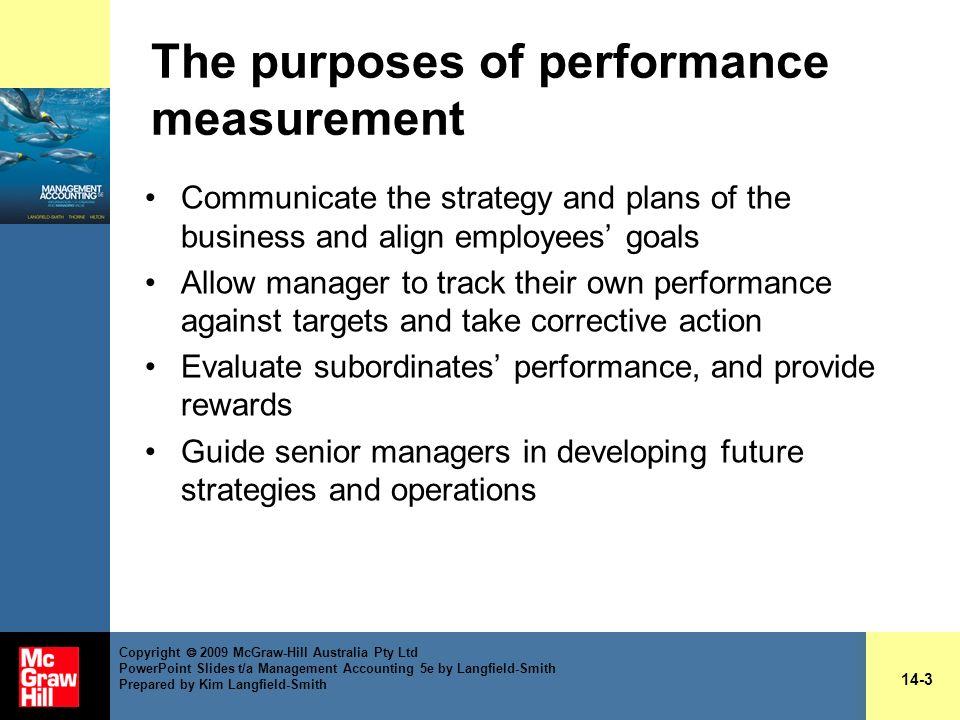 The purposes of performance measurement