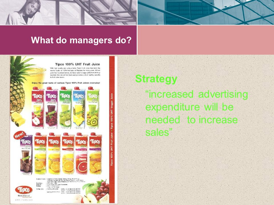 What do managers do Strategy increased advertising expenditure will be needed to increase sales