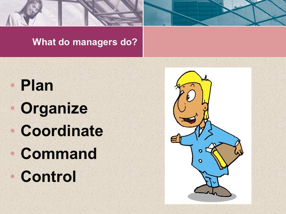 What do managers do Plan Organize Coordinate Command Control