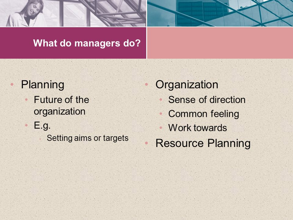 Planning Organization Resource Planning What do managers do